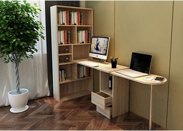 简约现代 书房拐角电脑桌一体书柜 双人电脑桌书